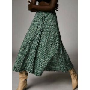 NWT Zara Tweed Checkered Button Down Midi Skirt, L